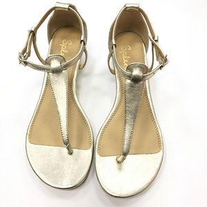 Splendid Gold Thong Wedge Sandals Size 6.5